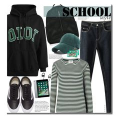 School Style by beebeely-look on Polyvore featuring Mads Nørgaard, Vans, River Island, OiOi, BackToSchool, stripes, schoolstyle, sammydress and Hoodies