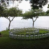 Molii Gardens Ceremony on Lower lawn near our 800+ year old ancient Hawaiian Fishpond. Spiral chair layout!
