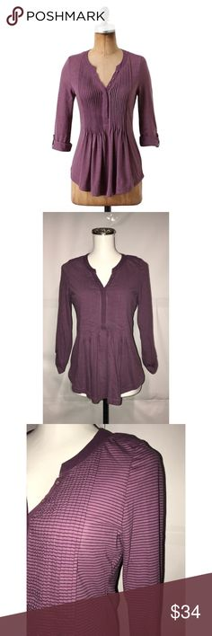 """C Keer Sz S Anthro Purple Narrow Ruled Henley NWOT C. Keer Sz S Anthro Purple Narrow Ruled Henley NWOT🔸Size small🔸Purple black stripe color🔸Pleated front button down🔸Roll tab sleeves🔸Round bottom hem🔸Bust 32-34""""🔸Length 25 1/2""""🔸NWOT Anthropologie Tops Blouses"""