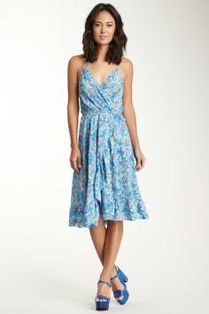 Wrap Ruffle Silk Dress - pretty blue!