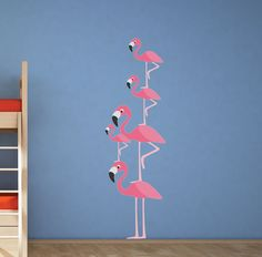 Do you want to take decorations for your kid's room to the next level? Painting can be a pain and if the kids room changes, the time spent is wasted. Try this on for size!  SIZE 2- 21 tall flamingos 2- 13tall flamingos 1-9.5 tall baby flamingo  Need different sizes or quantity? Just ask :)   PRODUCT DESCRIPTION We use a unique fabric based material that can be placed on any hard flat surface and leaves no residue. It can be moved or placed back on its backing for storage. ***YOU CAN USE IT…