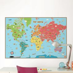 Found it at Wayfair - Lucas World Map Wall Decal