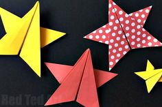 Easy Origami Stars - these paper stars are surprisingly easy to get the hang of and look wonderful. All you need is a square piece of paper...