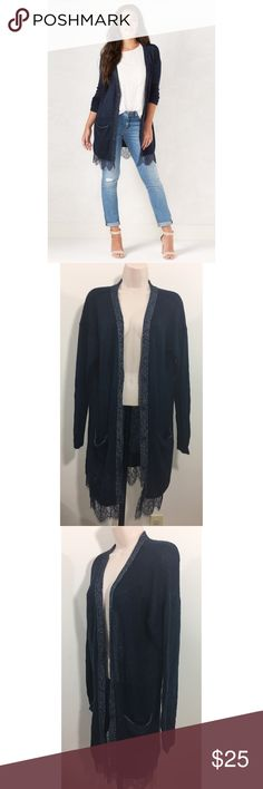 Lauren Conrad Long Cardigan Sweater Lace Large Size Large Gorgeous detailing Great condition LC Lauren Conrad Sweaters Cardigans