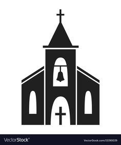 Church icon isolated on white background vector image on VectorStock Cartoon Building, Building Drawing, Building Silhouette, Silhouette Art, Little White Chapel, Church Backgrounds, Church Icon, Church Logo, Building Illustration