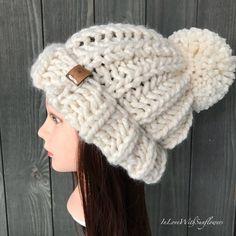 ac0269ce257 Chunky knit hat ~ Chloe Hat - Olympic Beanie ~ Slouchy Beanie -  Snowboarding Beanie - Removable Pom pom - Knit beanie