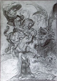 Simon Bisley Saint George and the Dragon Illustration Original Art The momentus battle betwixt Saint George and the deadly dragon culminates in this ultimate image by Simon Bisley. Rendered in layers of graphite on paper, the work measures x Simon Bisley, Drawing Sketches, Art Drawings, Sketching, Saint George And The Dragon, Dragon Illustration, Ligne Claire, Desenho Tattoo, Classical Art