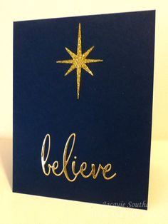 Believe Christmas card with gold glitter star