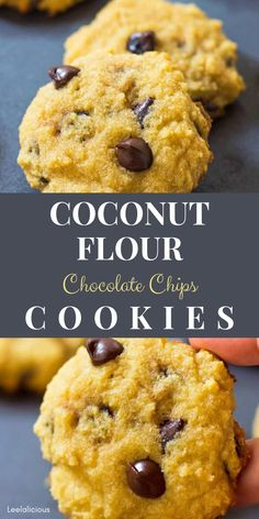 Melt-in-your-mouth soft Chocolate Chip Coconut Flour Cookies that are gluten free paleo friendly and can be made keto low carb chocolatechip cookies glutenfree paleo keto lowcarb soft coconutflour healthy cleaneating dessert holidays easy best recipe Coconut Flour Desserts, Coconut Flour Cookies, Coconut Chocolate Chip Cookies, Keto Chocolate Chips, Coconut Recipes, Low Carb Desserts, Gluten Free Desserts, Keto Recipes, Dessert Recipes