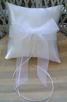Wedding  Ring Bearer Pillow in White  by