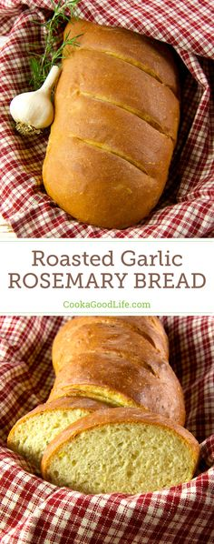 This garlic rosemary bread recipe has a whole head of roasted garlic baked into the dough. Oven roasting mellows the flavor of garlic and the soft, roasted cloves vanish into the bread dough giving you a mild garlic flavor with each and every bite. #baking #bread #garlic #roastedgarlic #rosemary