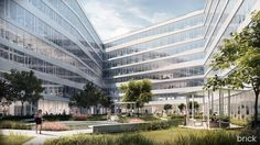 Architectural Visualization of the Telekom Budapest HQ | image credit: Brick Visual www.brickvisual.com/projects