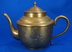 "Small Vintage Brass Teapot with Etched Designs   It's 6"" tall.  RD144  Go back to Tin Can Alley - FOR SALE: http://www.bagtheweb.com/b/PBdAfQ"