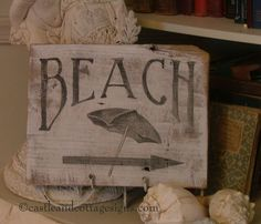 BEACH vintage cedar wood sign shabby cottage by castleandcottage