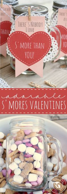 Adorable S'mores Valentines - mason jars filled with s'mores snack mix and FREE printables!
