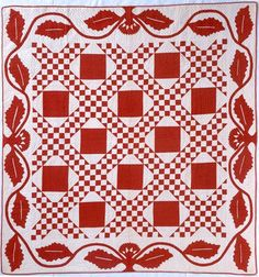 Red and white Chain and Block. 77 x 81 inches. Old Quilts, Antique Quilts, Vintage Textiles, Vintage Quilts, Hand Applique, Embroidery Applique, Irish Chain Quilt, Two Color Quilts, Red And White Quilts