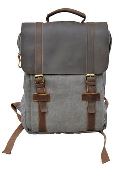 Amazon.com   Gootium Vintage Canvas Leather Backpack School Travel Rucksack  15.6 Inch Laptop Bag, Grey   Backpacks bb1e9b09b9