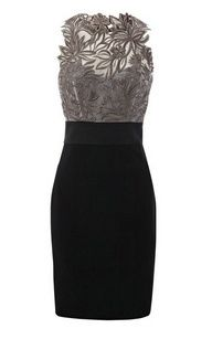 Black and grey dress with lace overlay detail at the top