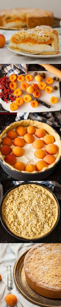 LOVE cheesecake and apricots! Apricot cheese Danish is one of my favorite things in life. — Crumb Apricot Cheesecake by vikalinka Just Desserts, Delicious Desserts, Yummy Food, Think Food, I Love Food, Cheesecake Recipes, Dessert Recipes, Peach Cheesecake, Cheesecake Bars