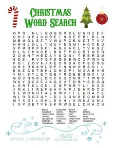 Printable Christmas Word Search - Happiness is Homemade                                                                                                                                                                                 Plus