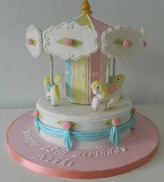 Carousel - Cake by Ice, Ice, Tracey Cake Icing, Fondant Cakes, Eat Cake, Cupcake Cakes, Torta Baby Shower, Carousel Cake, Fantasy Cake, Gateaux Cake, Sweets Cake