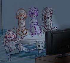 The Big Four watching what must be a horror movie...