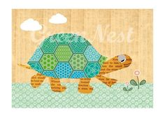 Grüne Schildkröte auf Holz Hintergrund Poster von VintagePaperGoods - GreenNest auf DaWanda.com