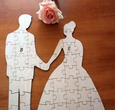 Custom Wedding Guest Book Puzzle Wood Rustic Wedding Guest Book Alternative…