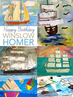 About Winslow Homer Winslow Homer was born in Boston, Massachusetts on February His mother was a watercolor artist and taught Homer how to draw and paint. When Homer was old enough, he moved Camping Art, Winslow Homer, Pirate Art, Elementary Art Projects, Thanksgiving Art, Boat Art