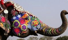 Painted Indian Elephant. For the elephant head I have..paint solid color then do design