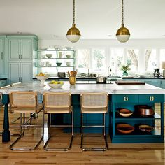 Teal Kitchen Island, Woven Stools and Brass Light Fittings   Modern Homely Colour