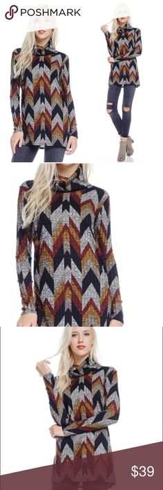 "🎉NEW 🎉geometrical ribbed knit turtleneck tunic L Geometrical print ribbed knit turtle neck tunic with side slits. Colors include black, red, mustard and gray.  Bust measures at 36"" unstretched.  Length is 30"" Material is 85 poly, 10 rayon 5 spandex.  Size large. This piece is straight from vendor. No tag. This tunic looks so cute with the jean jacket listed. Tops Tunics"