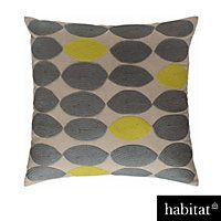 Habitat - Trillo 60 x 60cm Embroidered Cushion Grey