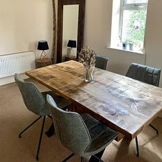 New 'John Lewis Calia Style' Vintage Dark Oak Table Reclaimed Dining Table, Farmhouse Dining Room Table, Dining Room Table Decor, Oak Table, Console Table, Types Of Rooms, Table Accessories, Extendable Dining Table, Table Decorations