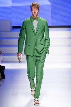 Salvatore Ferragamo green suit. Spring 2014. #Milanfashionweek #Menswear