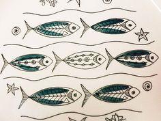 Rare Stavangerflint Mid Century Modern Mod Fish Plat