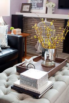 Use An Oversized Cushioned Ottoman As A Coffee Table Decor Tufted