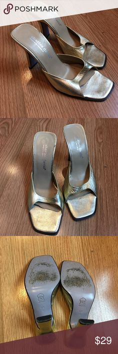 SALE✨Strappy gold leather slide heels ✨ Charles David strappy gold leather slide heels. Gorgeous, timeless style with simple elegance. Size 6.5. ✨ Charles David Shoes Heels