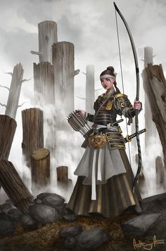 """f Ranger Med Armor Longbow Swords ruins urban Asian Faction sorcerersskull: """"Autumn Guard Archer by AnthonyAvon """" Archer Characters, Dnd Characters, Fantasy Characters, Fantasy Character Design, Character Concept, Character Art, Concept Art, Dragon Samurai, Ronin Samurai"""