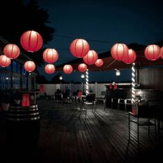 Summer lights- perfect for an evening in a city garden, country porch gazebo or deck, you'll want to stay out under the paper lanterns all night!