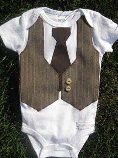 Brown & Tan Faux Vest and Tie Suit Onesie Bodysuit Baby Boy Long Sleeve Short