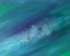 Abstract Oil Painting Agua Blue Green Painting por colorisenergy Green Paintings, Oil Painting Abstract, Blue Green, Northern Lights, Waves, Big, Nature, Outdoor, Art