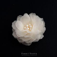 Pure Silk, 2.5 inch Bridal Hair Flower with Freshwater Pearls, Ivory Wedding Hair Flower, Swarovski Crystals, Wedding Hair Accessories