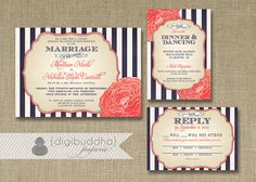 Stripes & Bloom Wedding Invitation 3 Piece Suite Reception Response RSVP Shabby Chic Navy Coral DIY Digital or Printed - Madison Style on Etsy, $65.00