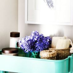 A posey of blue #hyacinth can go a long way especially in a bathroom nook #flowersaroundeverycorner #accessoriesmakeadifference #bluehyacinth #turquoisecart on #OpenhouseOverhaul on @hgtvcanada Photo by @vgallephoto Tap for product credits.