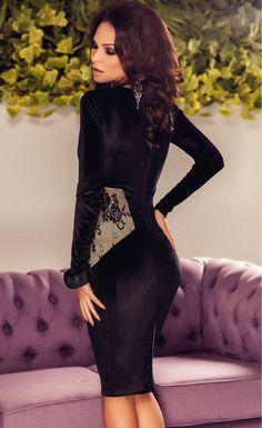 Black Lace Applique V Neck Midi Dress