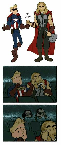 Loki and Bucky do not approve of Steve and Thor friendship <<< yes they do because it gives them an excuse to be depressed together Marvel Comics, Films Marvel, Marvel Jokes, Marvel Funny, Marvel Heroes, The Avengers, Loki Thor, Bucky, Images Star Wars