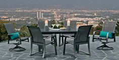 Complement your modern outdoor decor with the Telescope Casual Momentum Sling Aluminum Dining Chair . Sleek, clean-lined aluminum frames hold a stretchable. Outdoor Living Patios, Outdoor Dining Set, Outdoor Spaces, Outdoor Furniture Sets, Patio Dining, Porch Furniture, Dining Chair, Modern Outdoor Decor, Modern Patio