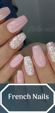 French Nails With Glitter The holidays are filled reasons to party, which means ample opportunity to deck your digits with jolly with Great Art Of Fashion With Classy Holiday Nails Picture Credit summernails nailsart nailsdesign nailartdiy n French Tip Acrylic Nails, Simple Acrylic Nails, French Nail Art, Glitter French Nails, Ombre French Nails, Chunky Glitter Nails, Clear Acrylic, Pretty Nail Designs, Pretty Nail Art