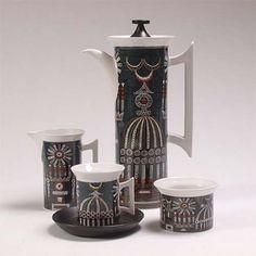 'Magic City' coffee set designed by Susan Williams-Ellis for Portmeirion Potteries, Stoke-on-Trent.